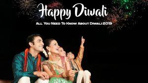 Family enjoying firework display on Diwali
