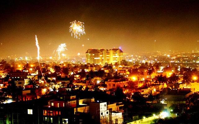 Diwali celebration in Delhi streets