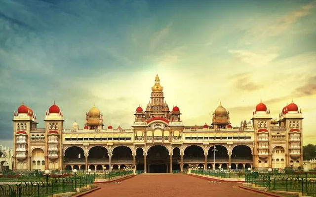 Front view of Mysore palace in Karnataka
