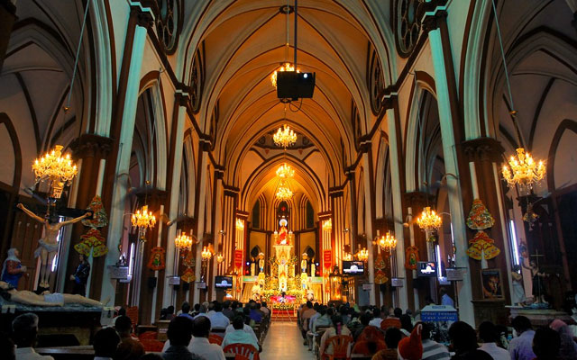 Interior view of Basilica of the Sacred Heart of Jesus in Pondicherry
