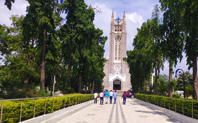 Front view of the Medak Cathedral Church in Telangana