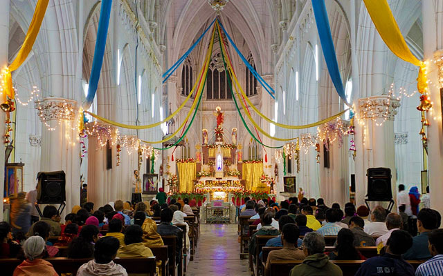 Inside of St.philomenas cathedral church in Karnataka on Christmas-eve