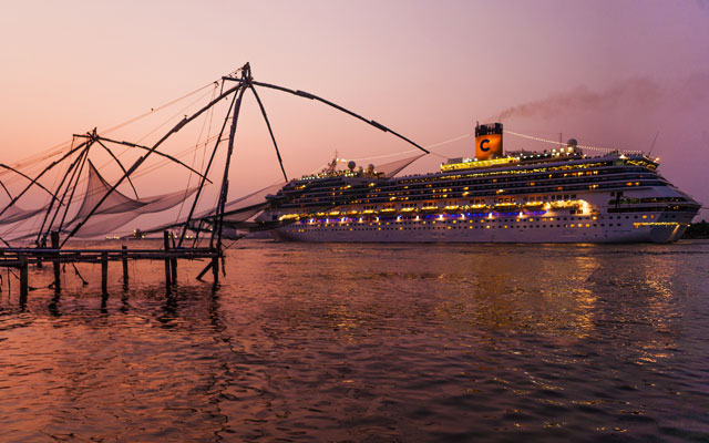 A view of chinese fishing nets and cruise ship in Fort Kochi