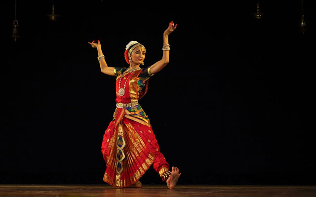 A young artist performing Bharatanatyam danceform