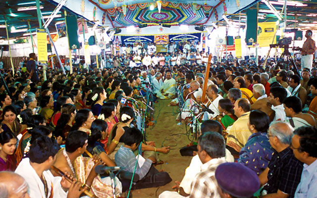 Singers singing Pancha Rathna Keerthana in Thyagaraja Aradhana festival at Thiruvaiyaru near Thanjavur, Tamil Nadu, India