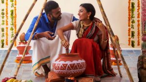 Newly married couple celebrating the Pongal festival in Tamilnadu