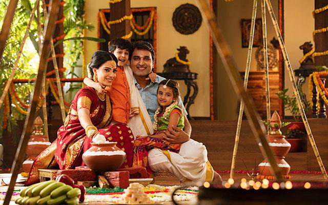 Family celebrating the Pongal Festival