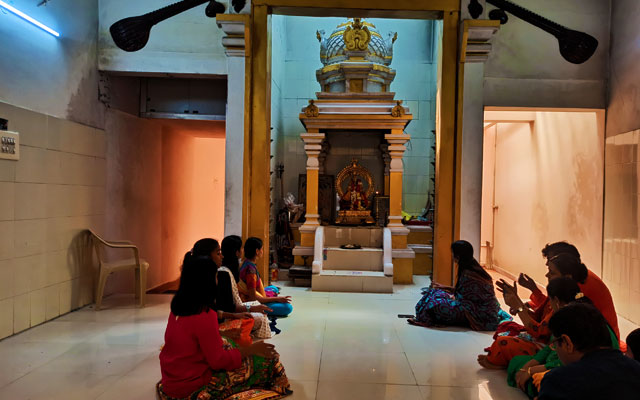 Group of young girls singing a Carnatic song in Saint Sri Thyagarajar House in Thiruvaiyaru