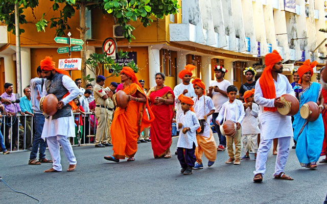 Troupe with ghumats, a local percussion instrument, performs at the traditional annual Shigmo festival parade that showcases the rich cultural heritage of Goa in Panjim, Goa, India.