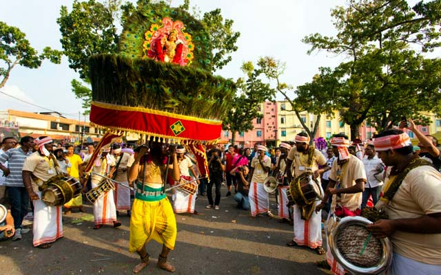 Hindu devotees during the colourful annual procession of Thaipusam