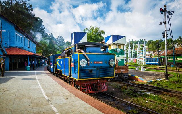 Blue heritage train of Nilgiri mountain railway at the Coonoor station, Tamilnadu, India