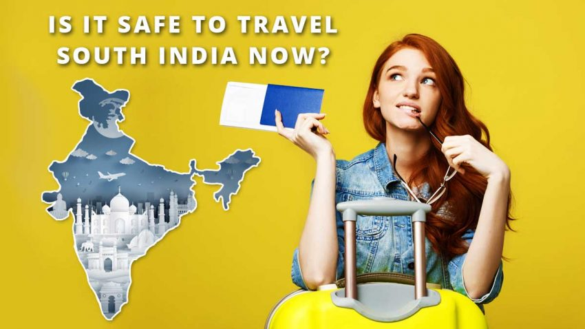A young woman holding passport and glass with suitcase and thinking about something