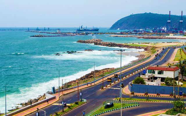 View of Visakhapatnam with Dolphin's Nose, Visakha Container Terminal and Beach Road