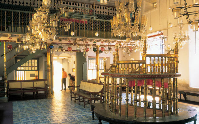 Interior view of Jewish Synagogue in Fort Kochi