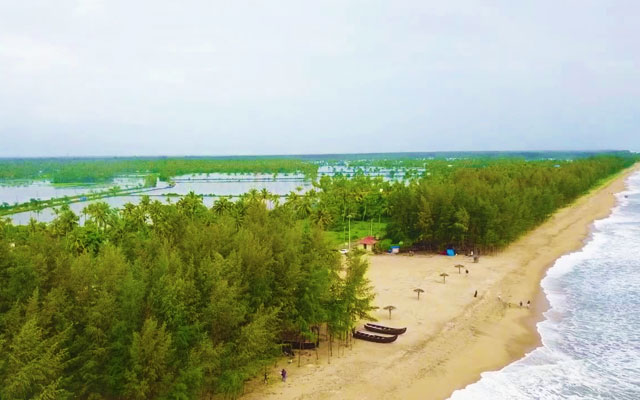 An aerial view if Kuzhuppily beach in Kochi, Kerala