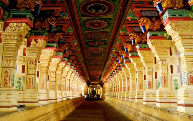 Cooridors of Rameswaram Ramanathaswamy temple in Tamil Nadu.