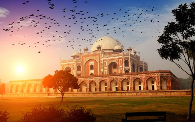 A beautiful glimpse of Humayuns Tomb in Delhi under the beautiful cloudscape.