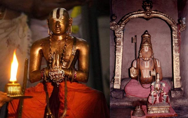 A picture of 1000 years old Sri Ramanujar's preserved body in the Srirangam Temple.