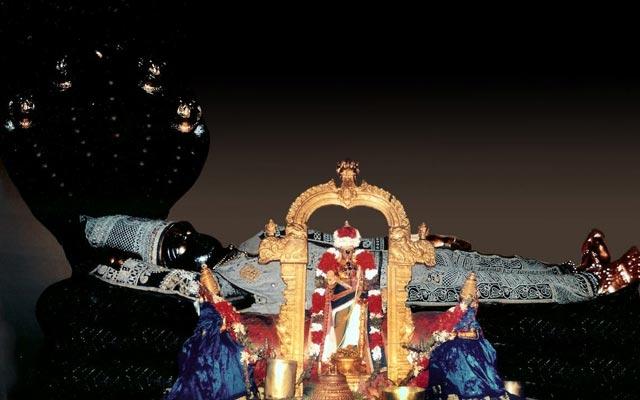 A glimpse of Lord Ranganatha adorned with Pearl dress during Vaikunta Ekadasi in Srirangam Temple