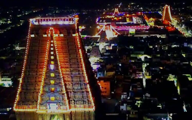 A glorious view of Srirangam temple gopuram lightened by numerous electric bulbs on the occasion of Vaikunta Ekadasi