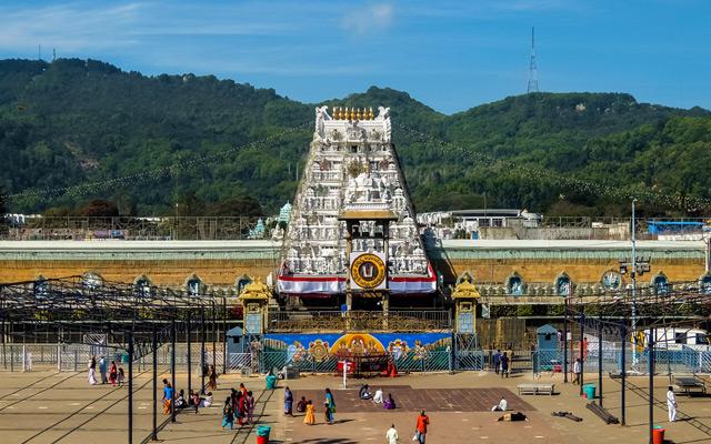 Devotees visit Balaji temple at Tirumala hill