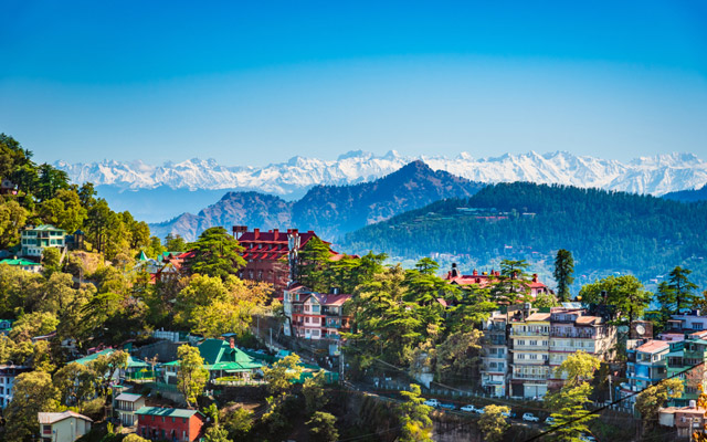 Beautiful panoramic cityscape of Shimla, the state capital of Himachal Pradesh located amidst Himalayas of India