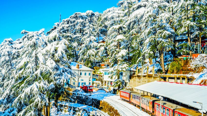 The scene from first snowfall in Shimla Railway Station India